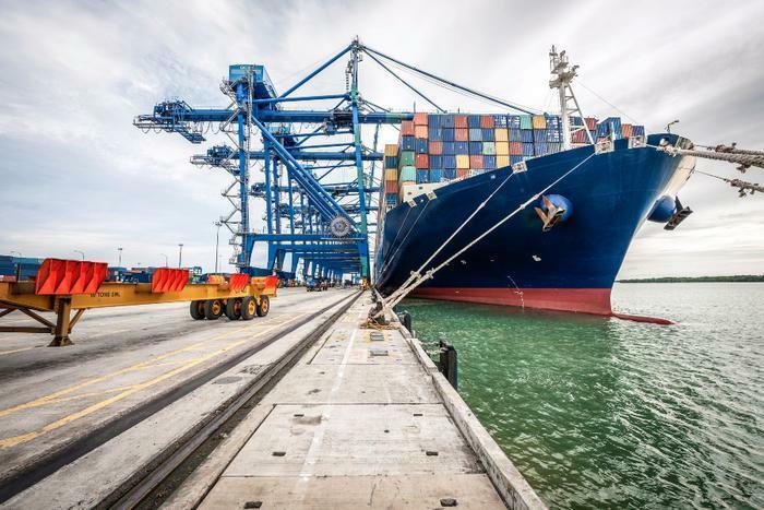 Cargo ship docked at port