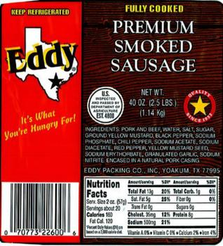 Eddy Packing Co , Inc  recalls certain smoked sausage products