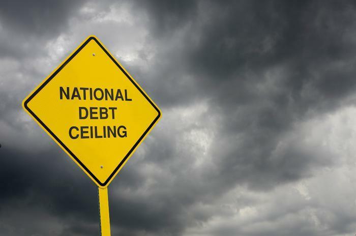 National debt ceiling warning sign