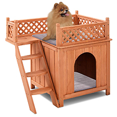 fancy dog house with balcony