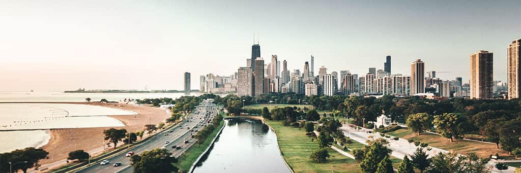 city skyline in the midwest