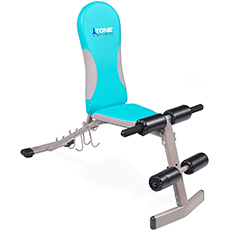 tone fitness bench with dumbbell holders