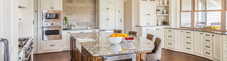 large kitchen with granite island