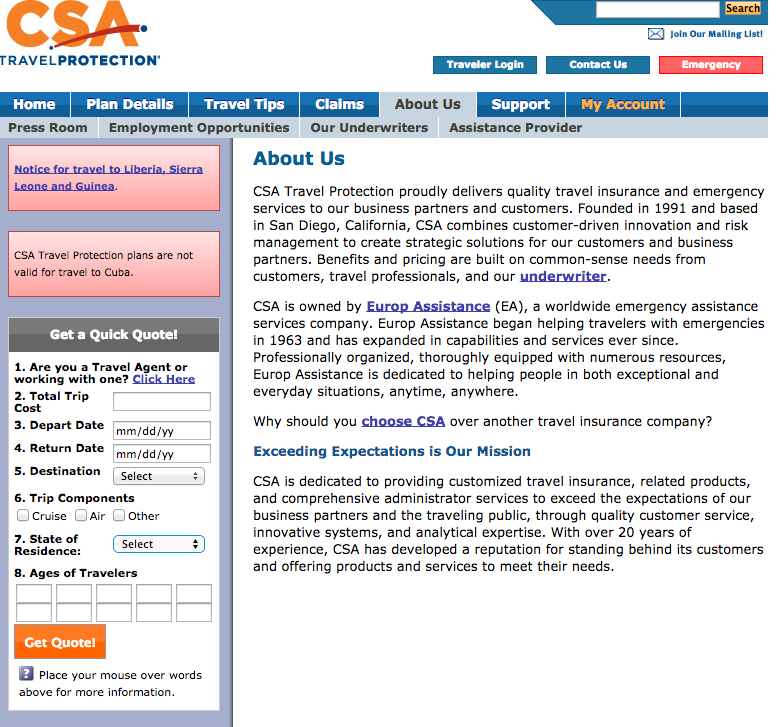 Csa Travel Protection And Insurance Services Review
