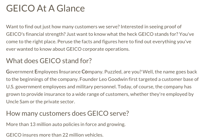 What are some policies offered by Geico insurance?