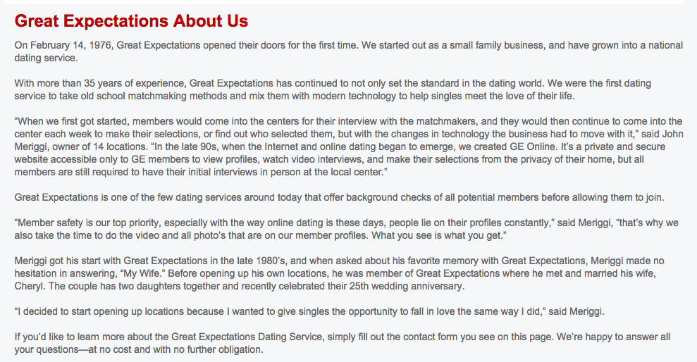 Great expectations dating service locations