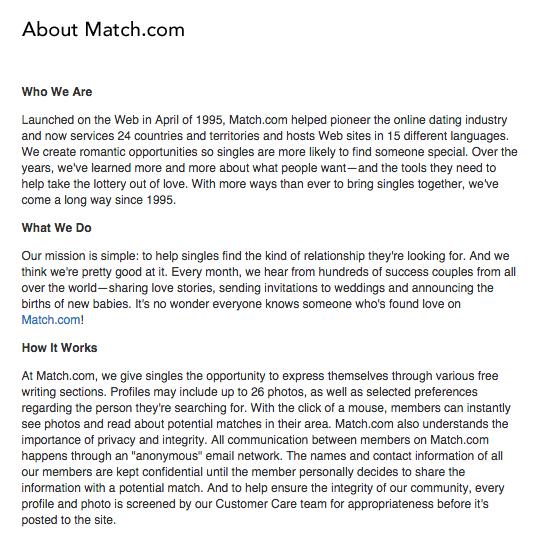 Match com homepage  About Match com     Consumer Affairs