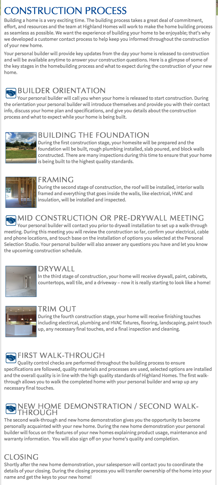 Top 3 reviews and complaints about highland homes for Process for building a house