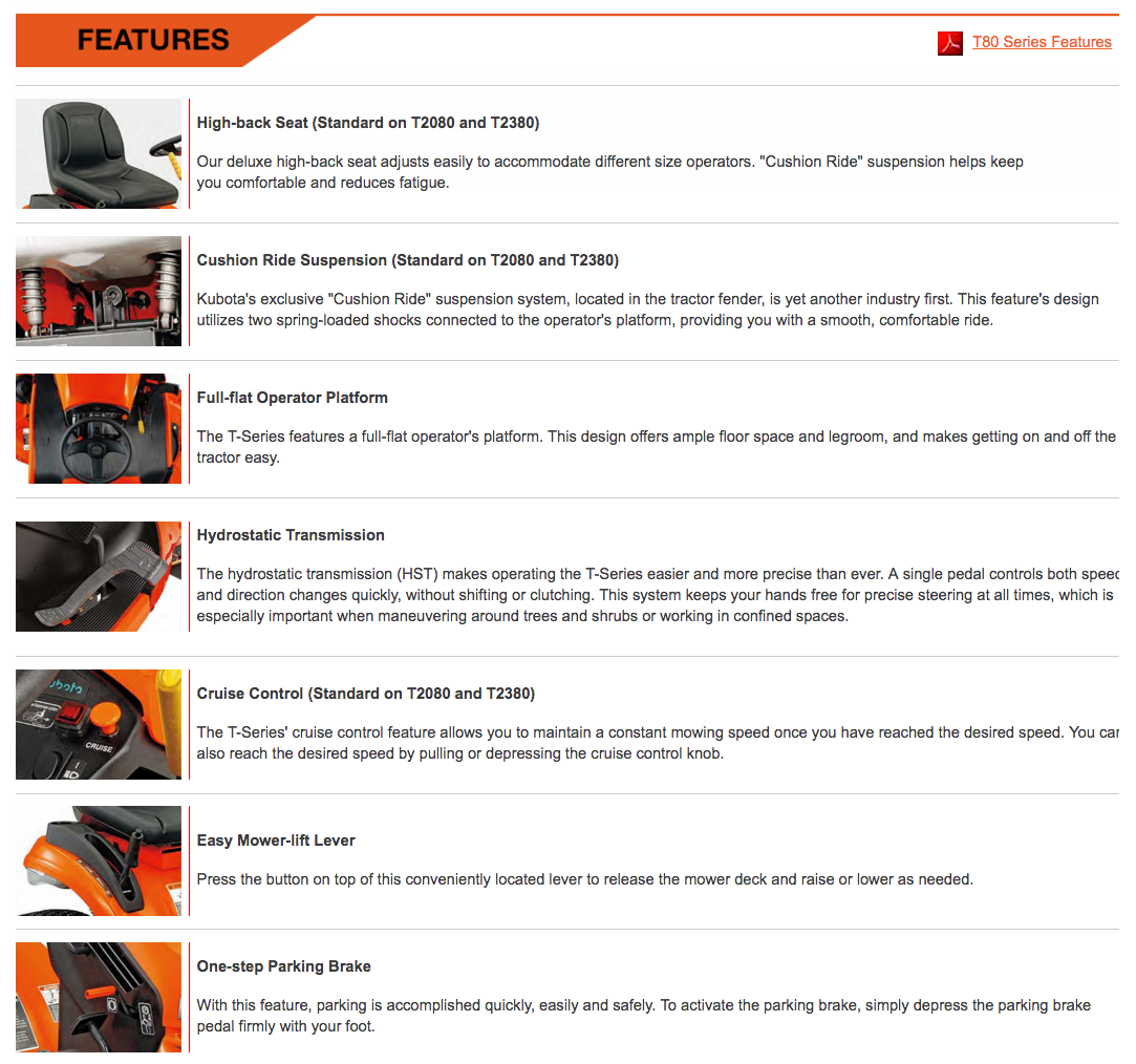 top 85 complaints and reviews about kubota kubota t series features