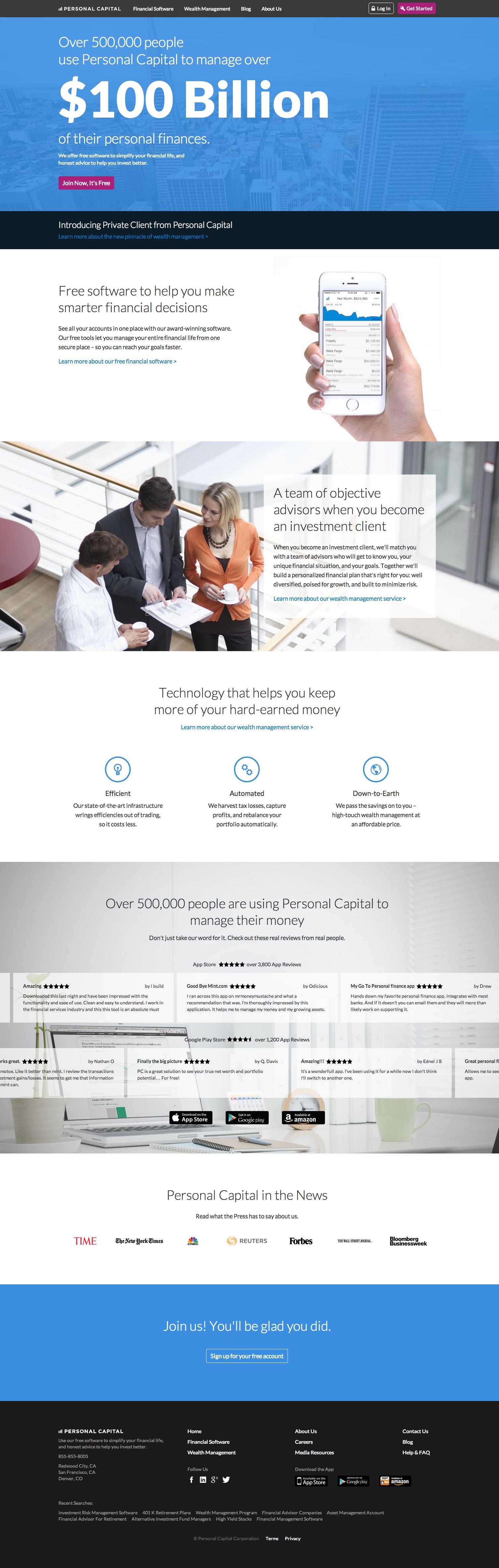 personal capital homepage consumeraffairs