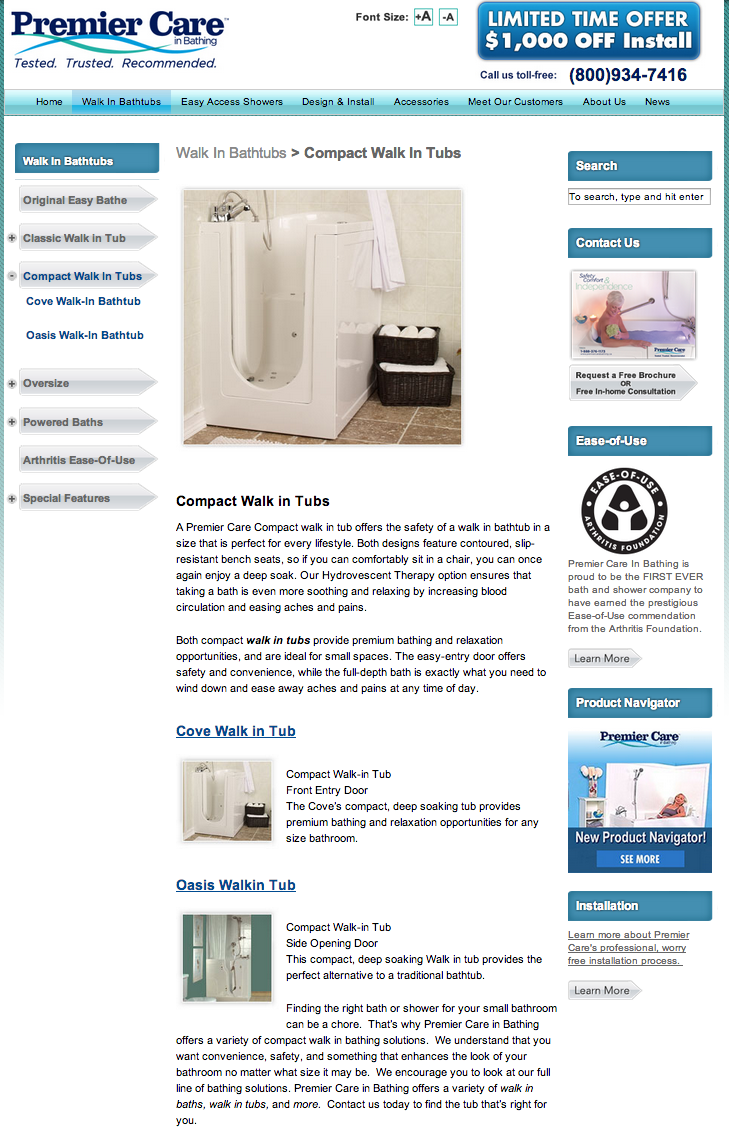 Safe step walk in tub price - Premiere Care In Bathing Compact Walk In Tubs