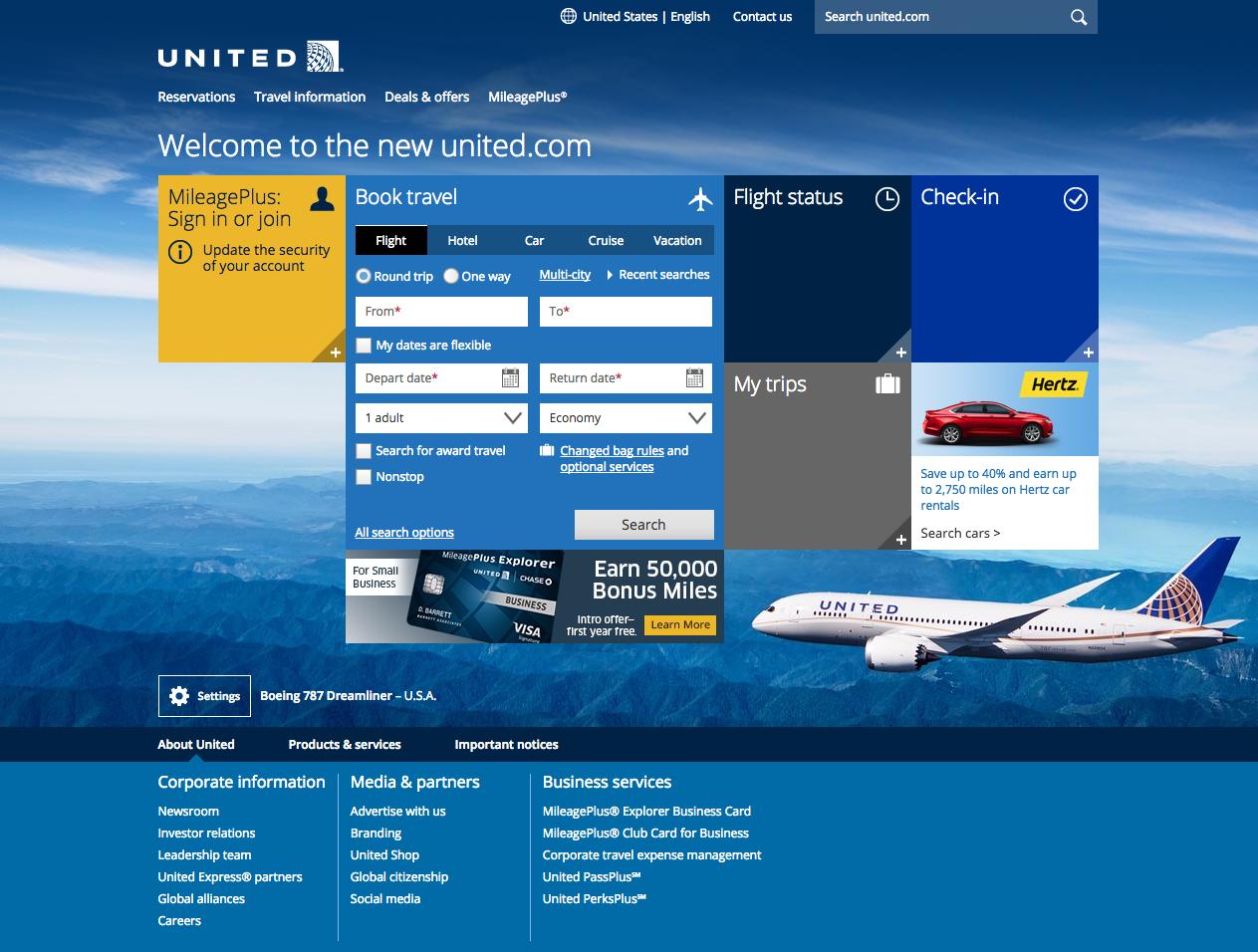 united airline reservation number
