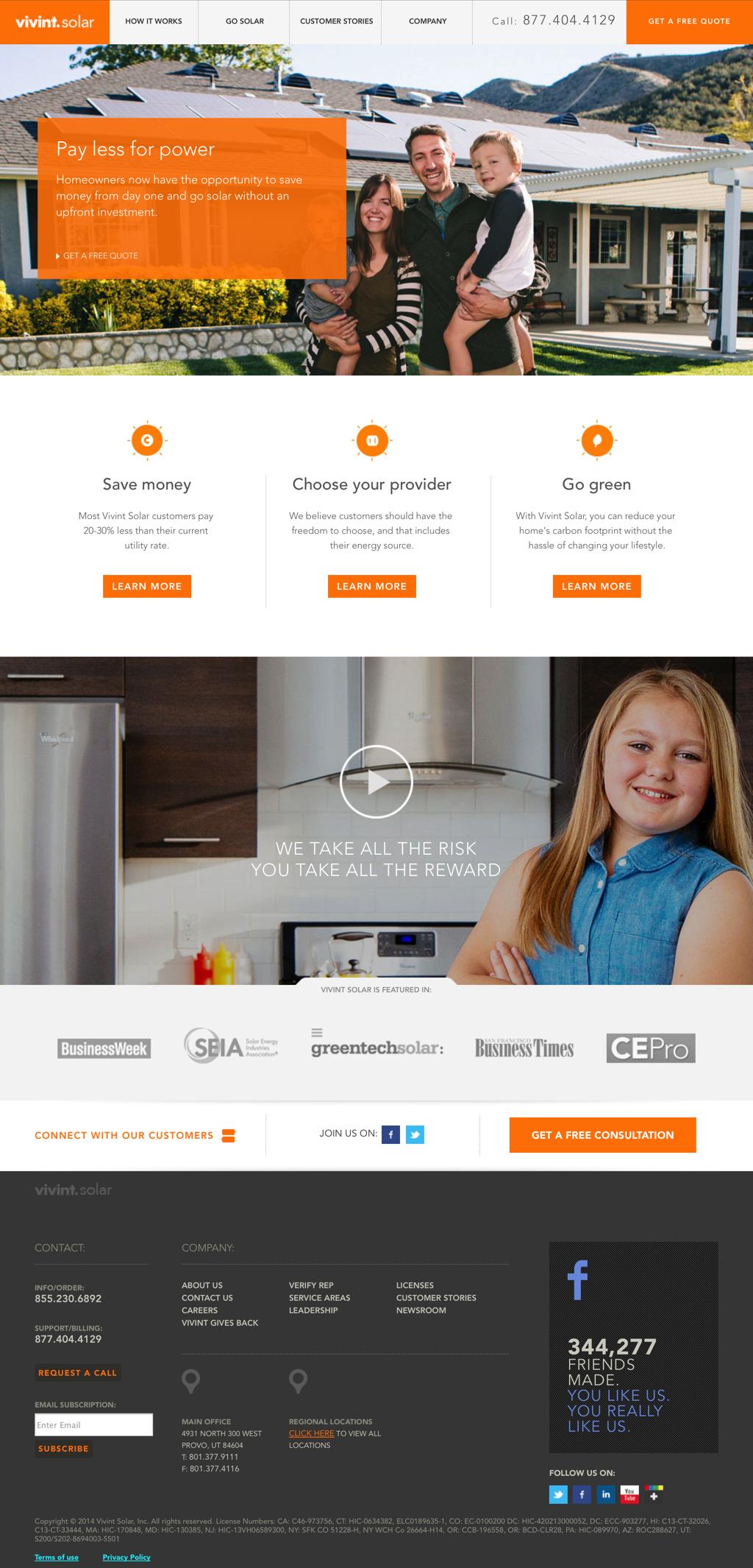 vivint solar review 2017 consumeraffairs page 2 vivint solar homepage