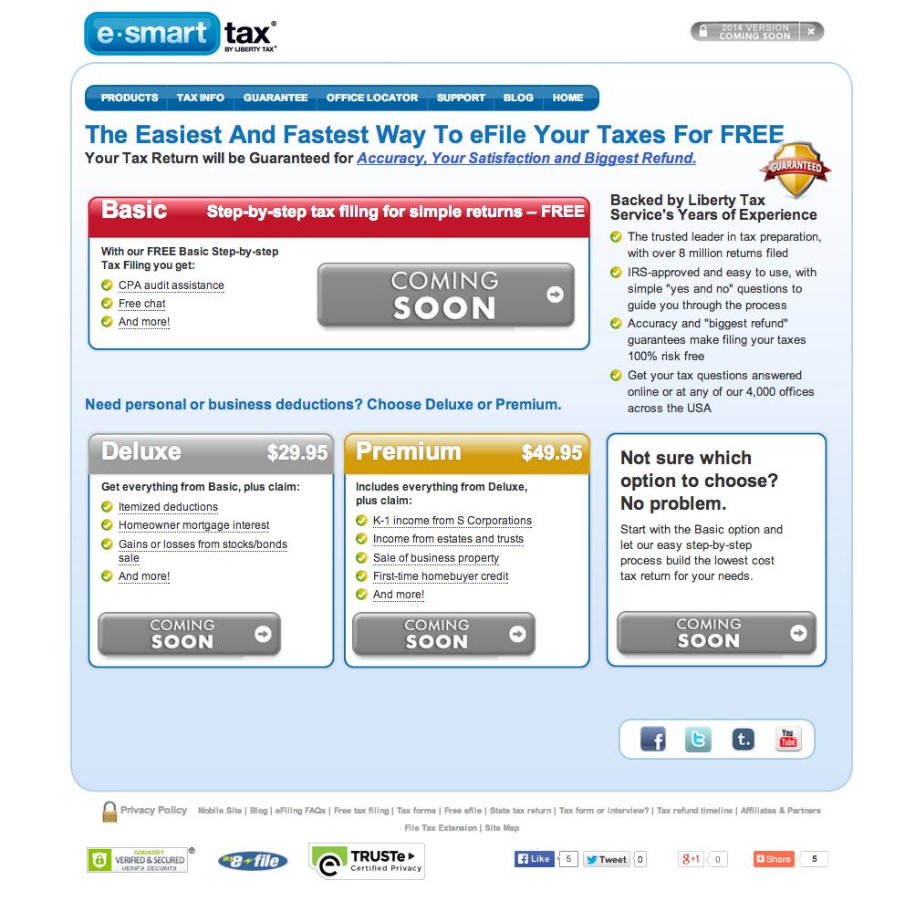 Esmart Tax Homepage · Esmart Tax Efile · Esmart Tax Pricing