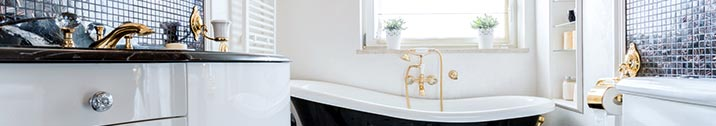 Epic White and black bathroom with gold accents