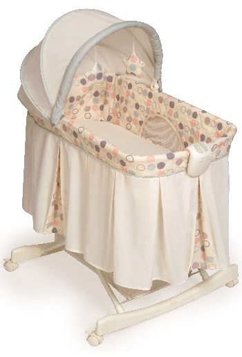Picture of KB039-CMR1- Tender Vibes Deluxe Rocking Bassinet (polka dot cover)