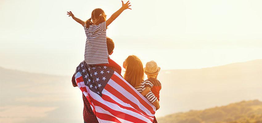 family holding us flag