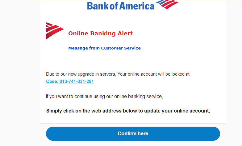 Bank of America email scam still going strong