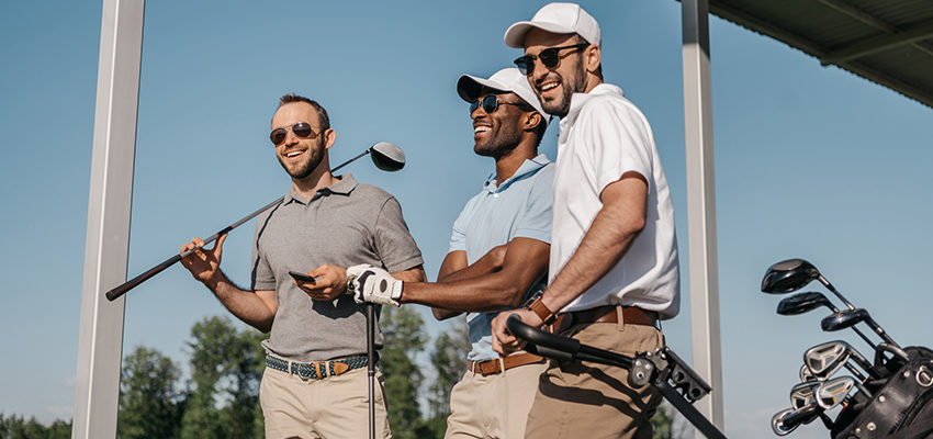 business men golfing