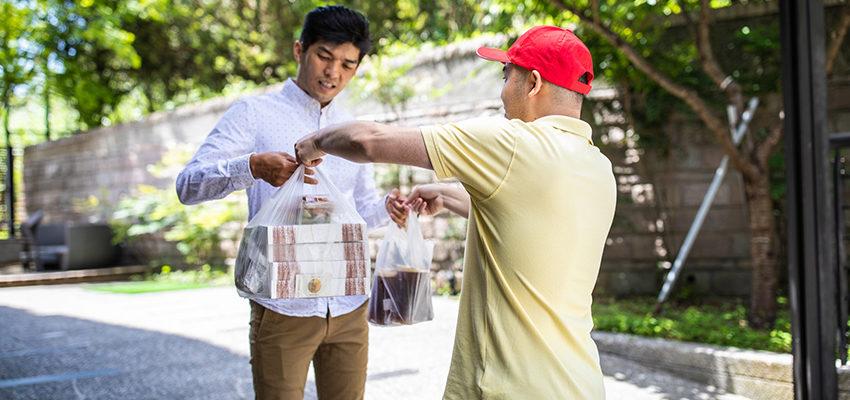 man delivering food