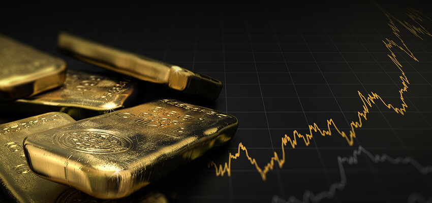 gold bars stacked on line graph