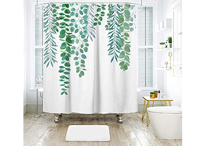 shower curtain with leaves