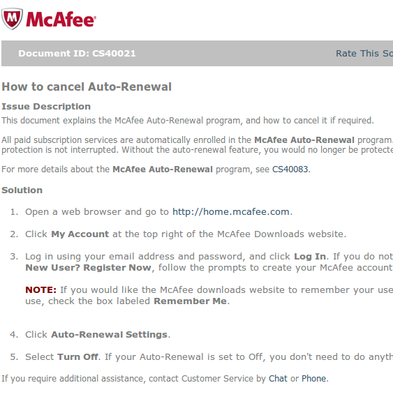 How to disable McAfee's auto renewal