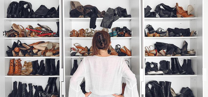 messy shoe closet