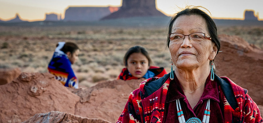 native american grandmother and family