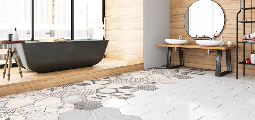 patterned tile flooring in bathroom