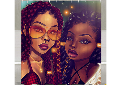 sara nell black art afro mom and daughter shower curtain
