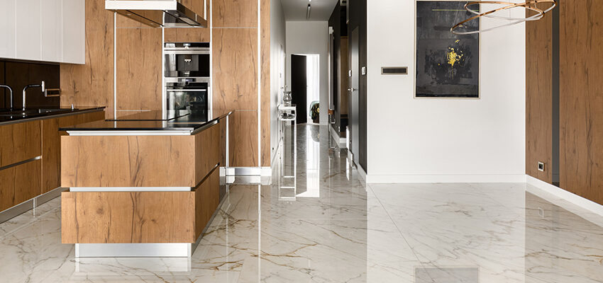 stone flooring in kitchen