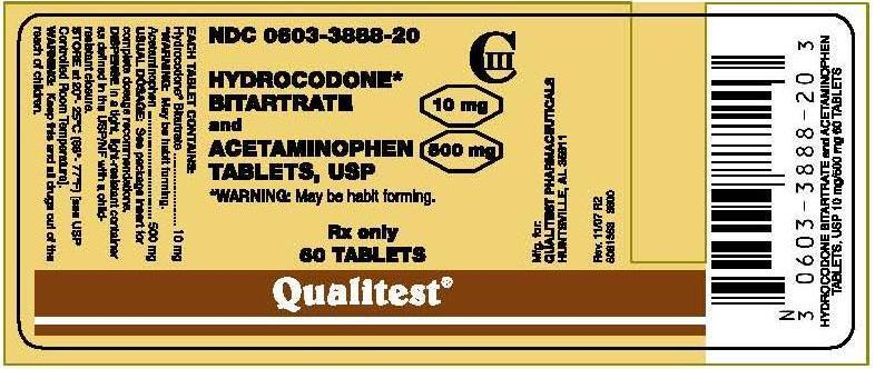 3600 Hydrocodone Bitartrate Label
