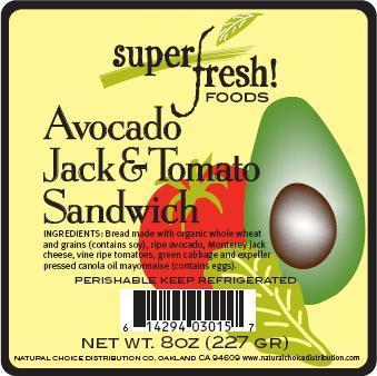 Avocado Jack & Tomato Sandwich Label