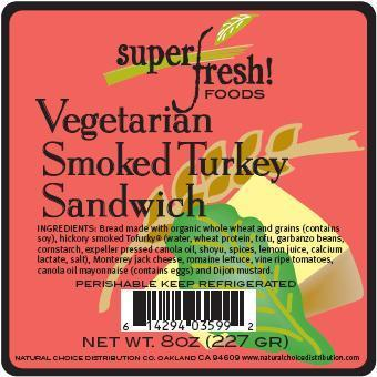 Vegetarian Smoked Turkey Sandwich Label
