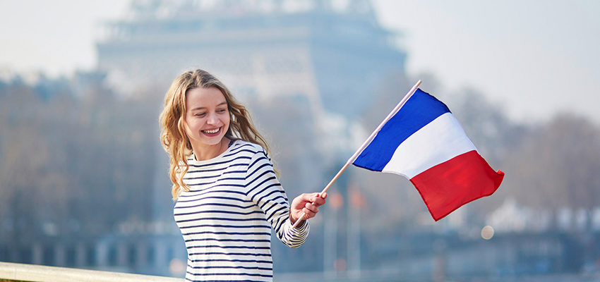 woman with flag of france