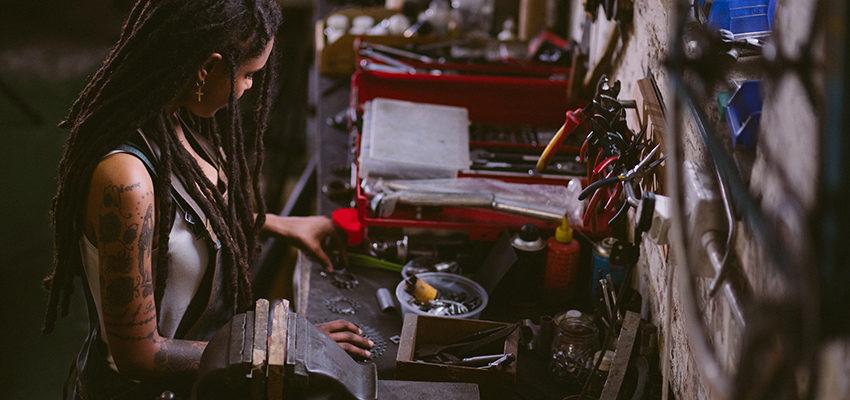 woman working in garage