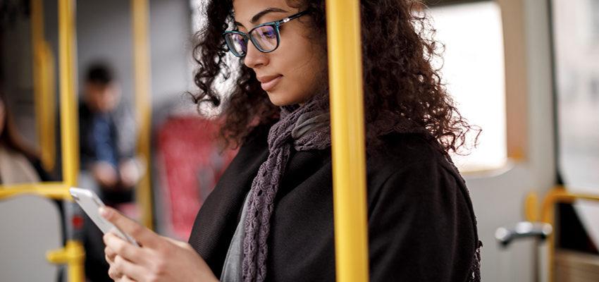 women reading phone