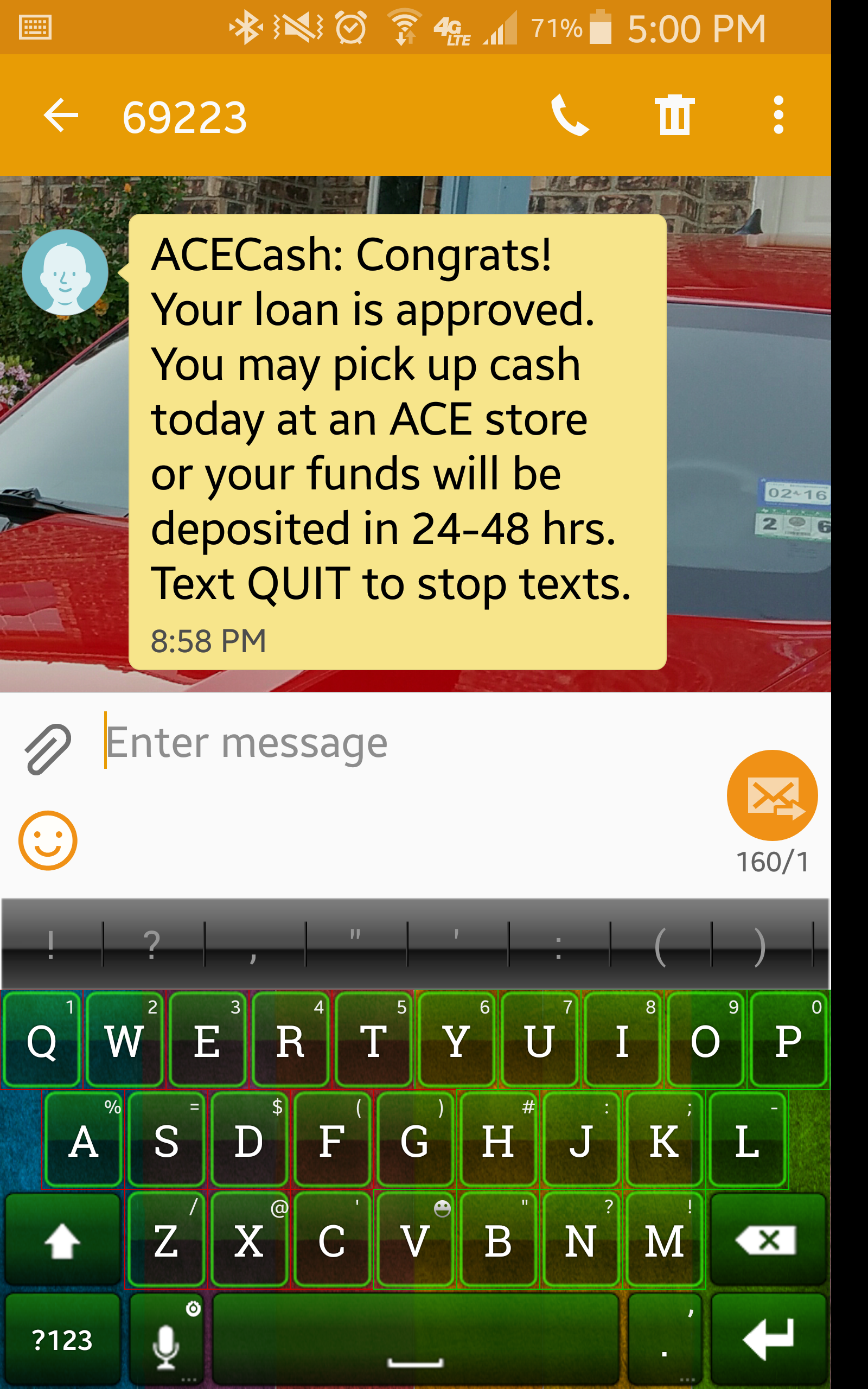 Does anyone know of a place where you can get a small loan like $600.00 really fast.?