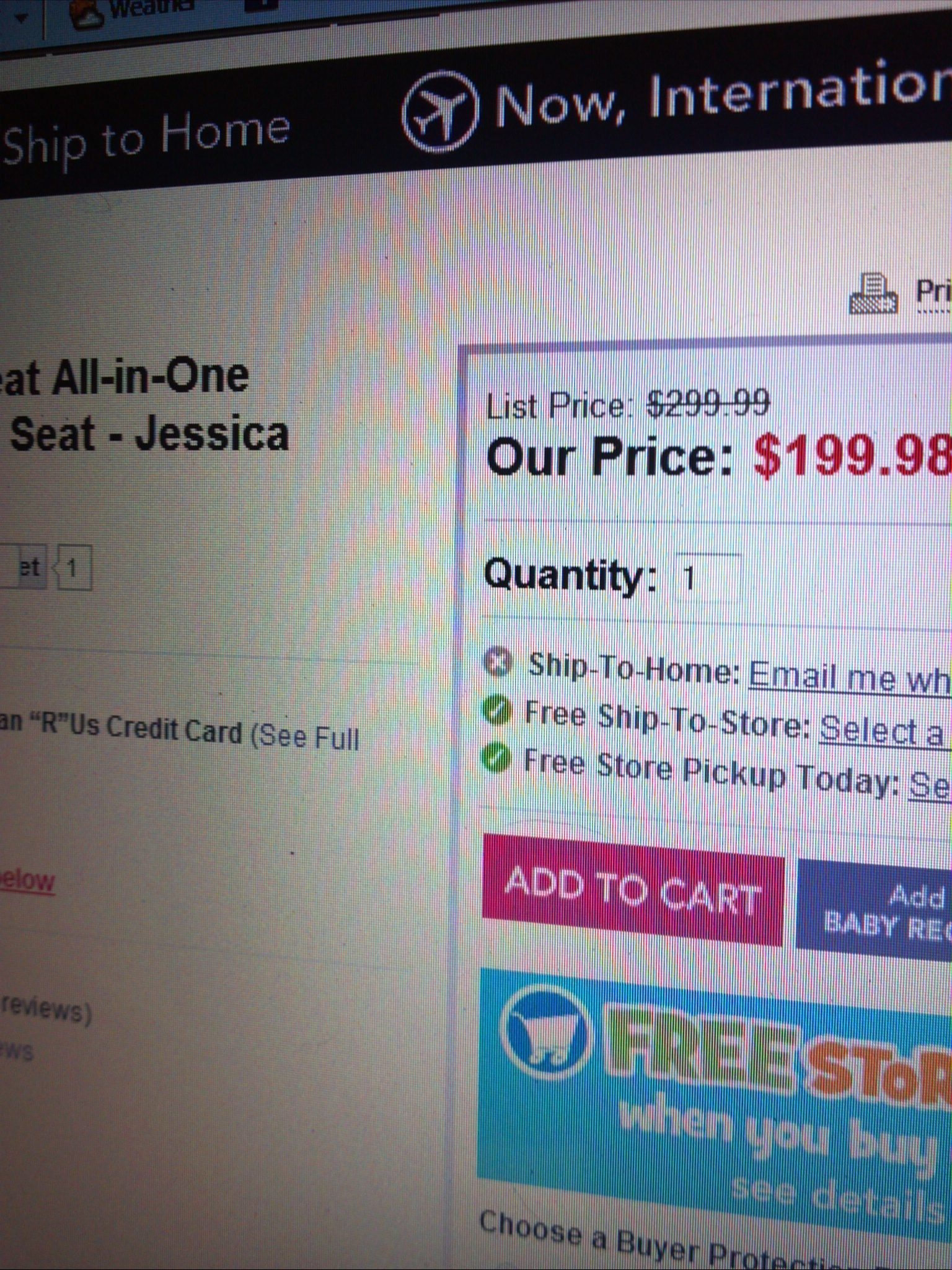 I Had A Car Seat Picked Out And I Went Online To Get It It Was On Sale For  $199 Website Stated It Wasn't Stocked For Online To Buy But You Could
