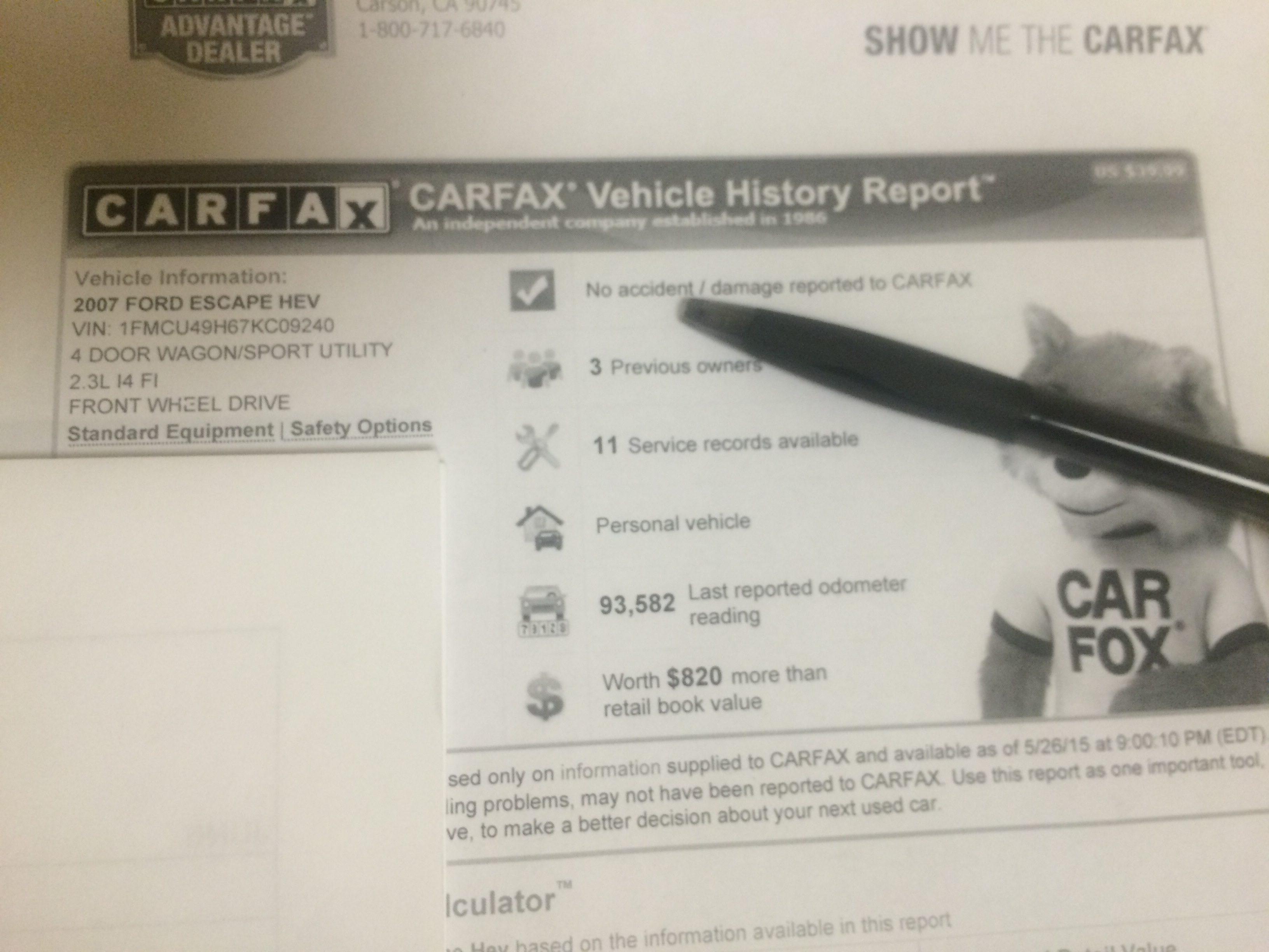 Dealer Carfax Vin