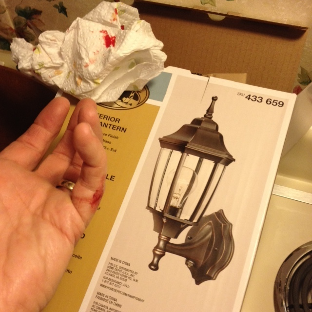 We Decided To Replace Our 32 Year Old Back Deck Exterior Wall Light Fixture.  We Picked Up A Hampton Bay Exterior Wall Lantern Oil Rubbed Bronze Finish  Clear ...