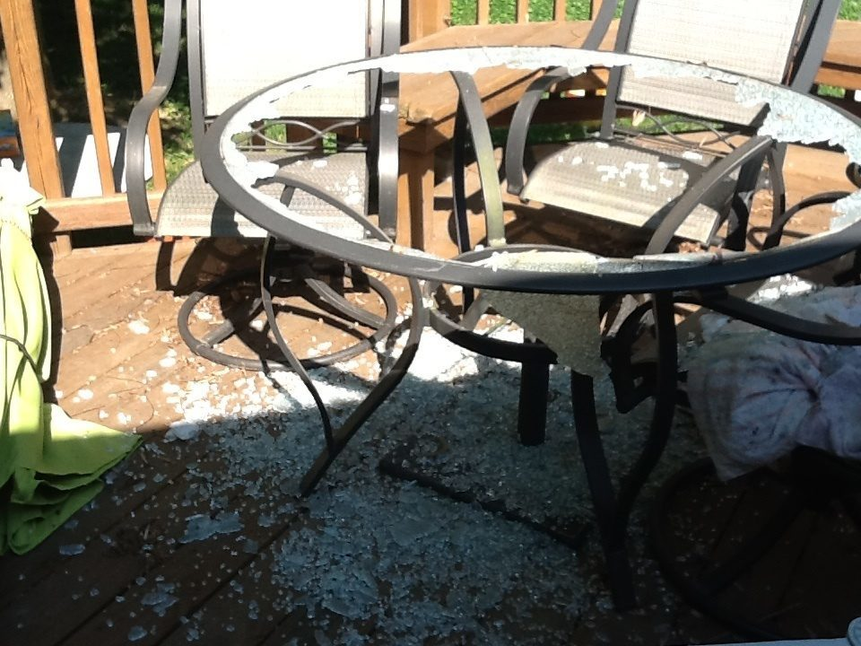 I Purchased A Hampton Bay Patio Set From The Home Depot In Summer 2008.  This Morning, I Heard A Loud Crash And Looked Outside To See Tiny Pieces Of  Glass ...