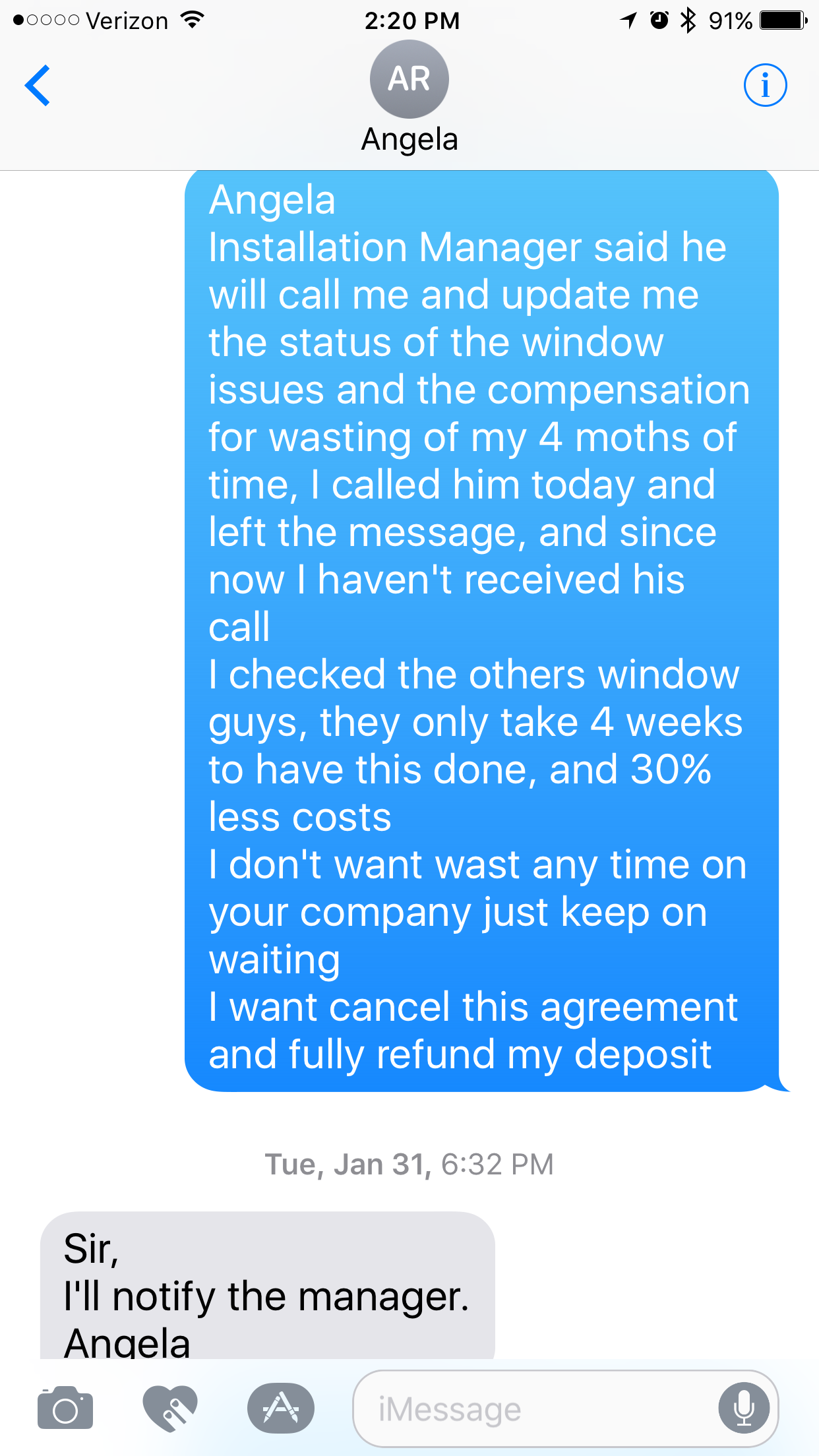 No Home Depot window work -- 9/28/2016 we signed a window replacement agreement with sales Paul **. 11/7/2016 we received a call from Texas office to ...