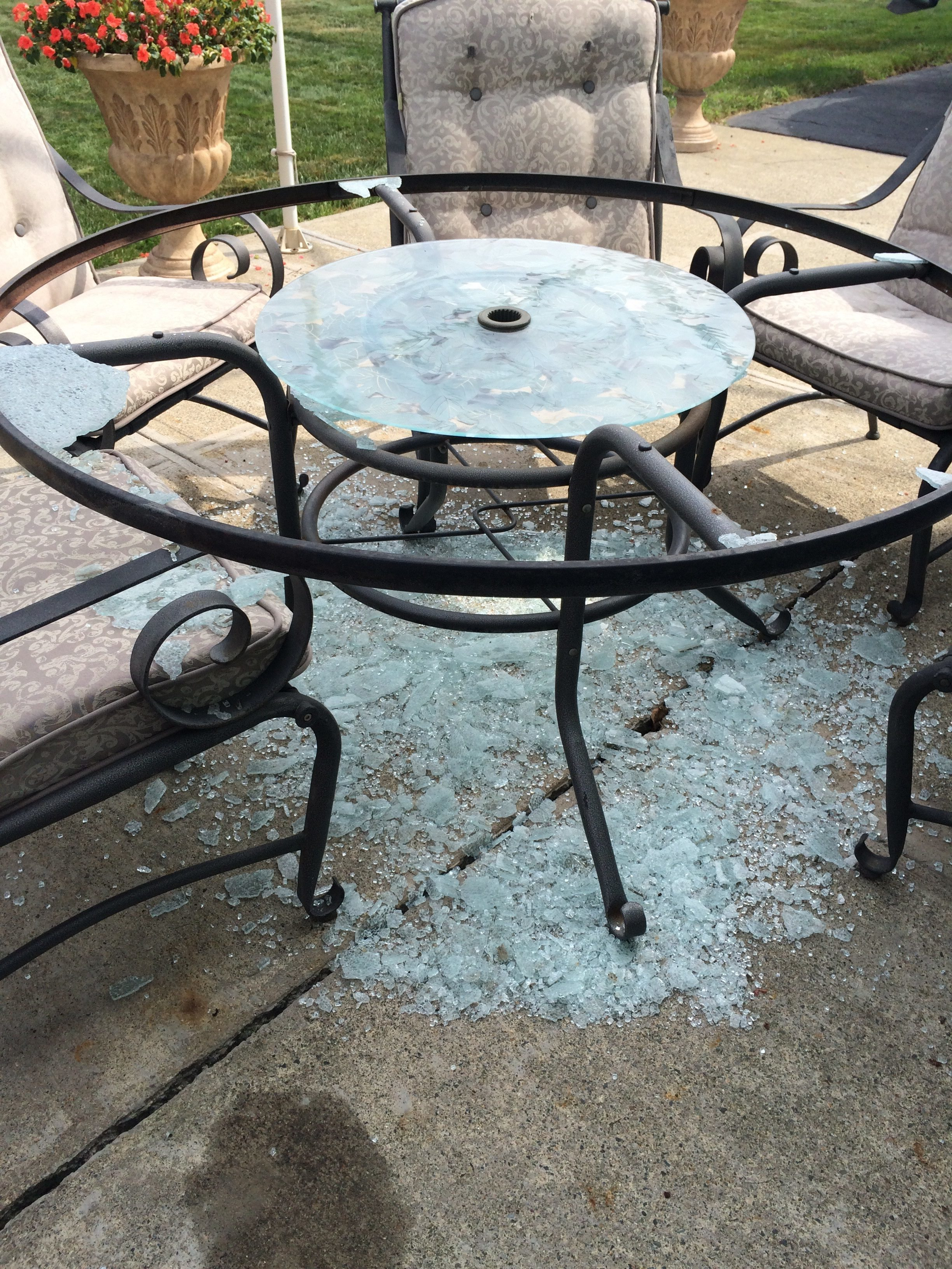 Left the house for about an hour and returned to find the patio table