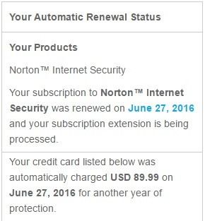 Norton antivirus automatic renewal