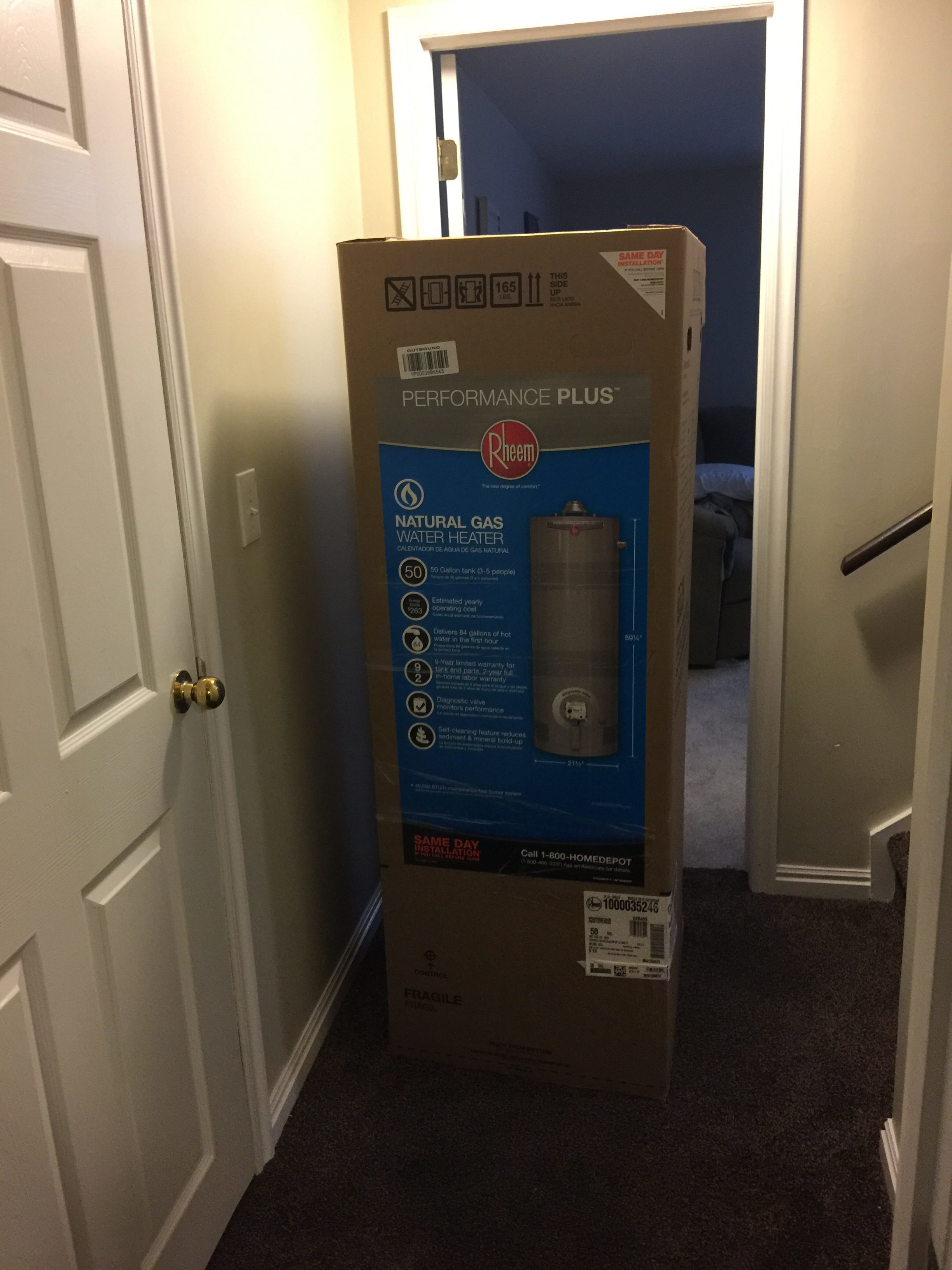 rheem water heater 40 gallon. on 1 2 16 we purchased a rheem water heater and installed it never worked 40 gallon