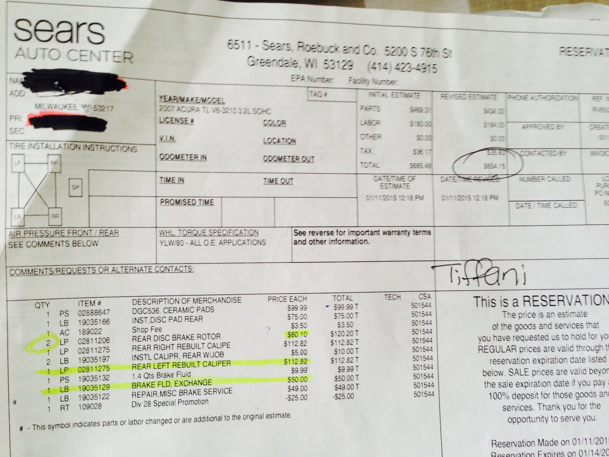 fake car repair receipt – notators, Invoice templates