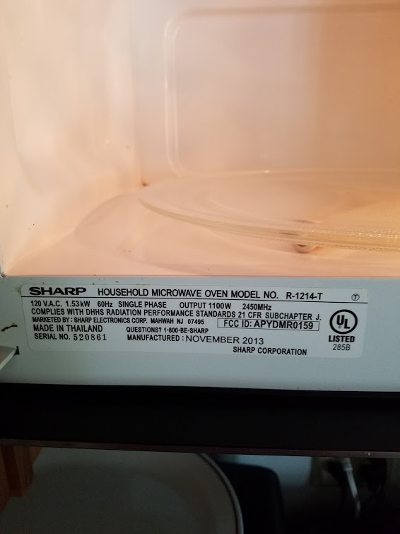 We Bought An Over The Counter Sharp Microwave Two Years Ago Model No R 1214 T It Was Expensive But I Thought Would Stand By Their Products