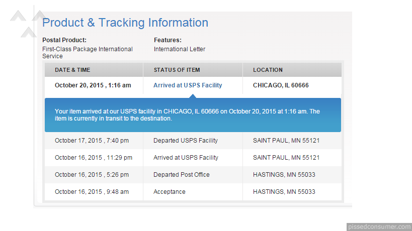 i post an item worth 400 via usps first class international service i post it on 16th october 2015 but still item is not delivered to my friend